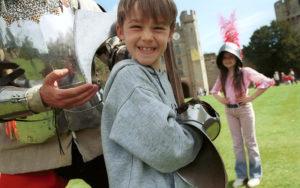 A boy enjoying Warwick Castle, Warwickshire