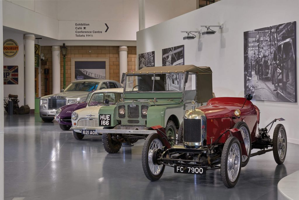 Welcome gallery at the British Motor Museum in Warwickshire