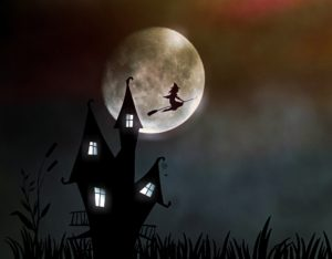 spooky house and witch
